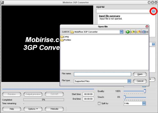 Opening the file in mpeg to 3gp video converter