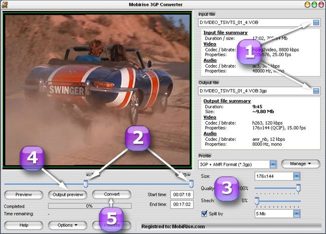 Video converter to 3GP