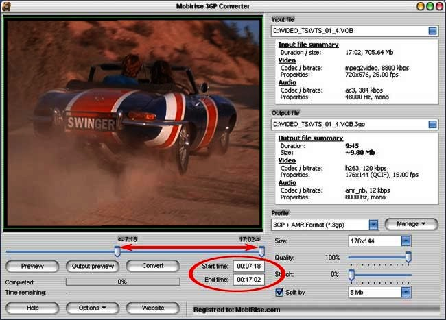Mpeg to 3gp converter: Defining the start and end points.