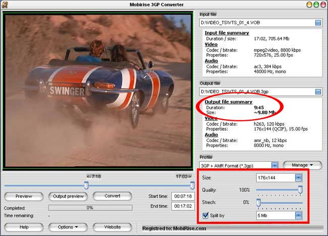 Adjusting output video file settings in MPEG to 3gp video converter