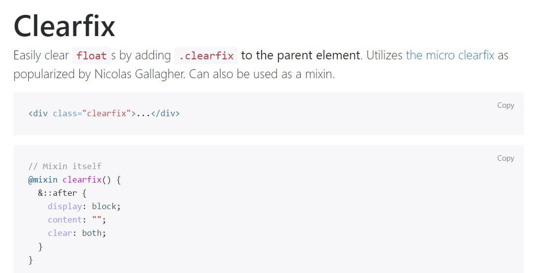 Bootstrap clearfix official documentation