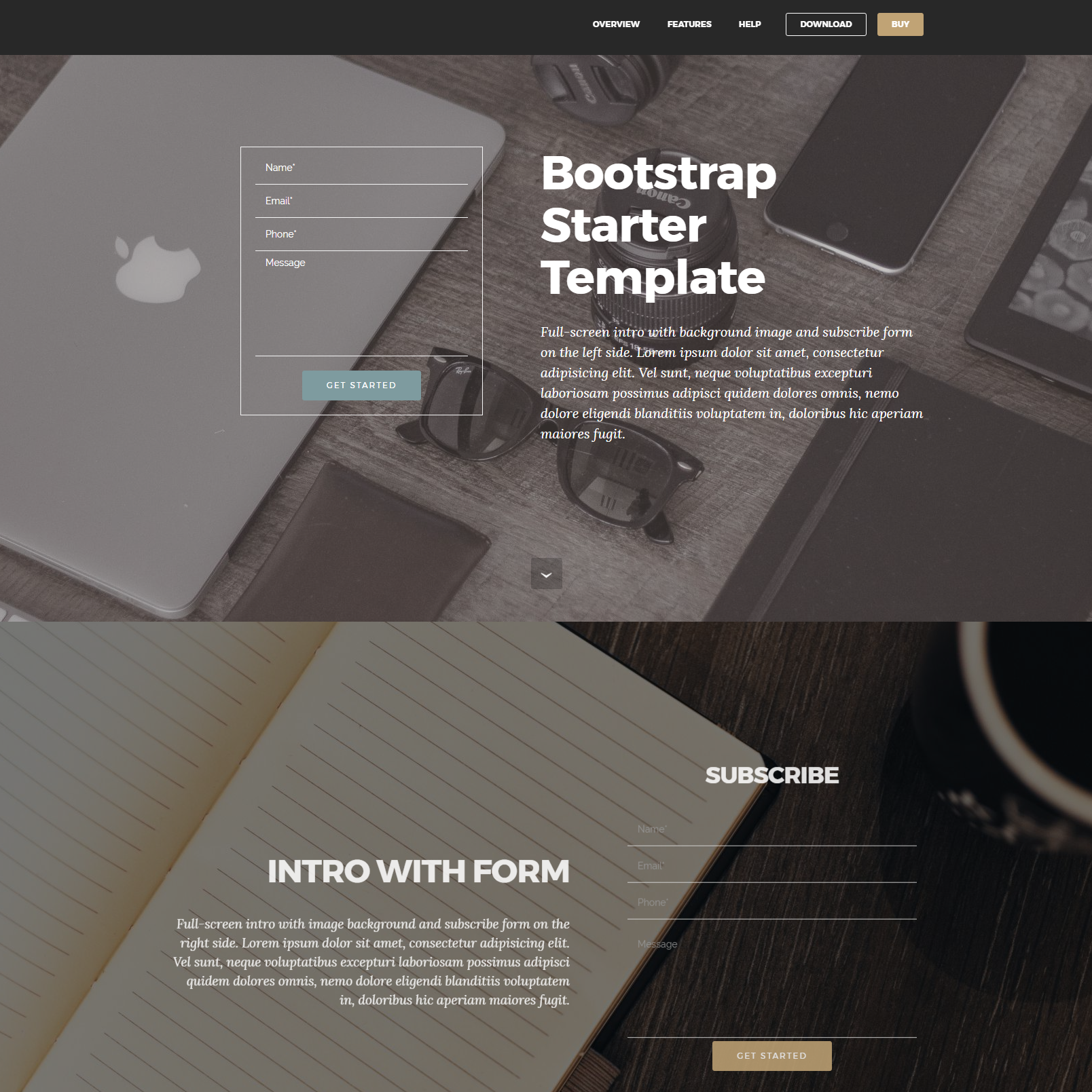 HTML Bootstrap Starter Themes
